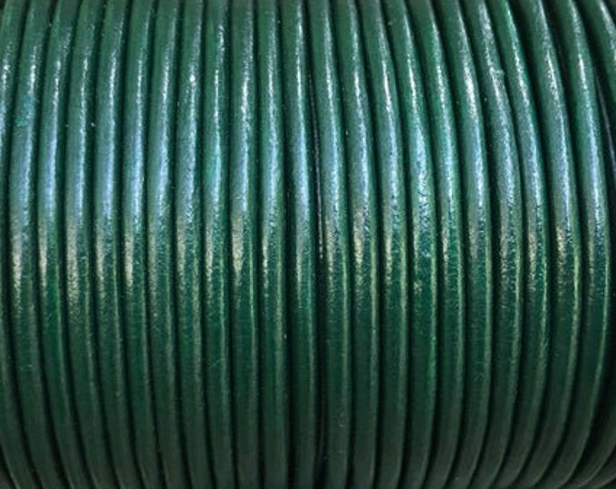 1.5mm Forest Green Round Leather Cord  By The Yard Forest Green 1.5mm Round Leather Cord LCR1.5 - 1.5mm Forest Green #77