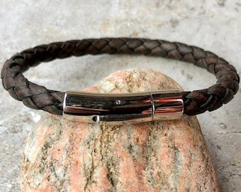 Leather Bracelet, Braided Bolo Leather With Stainless Steel Bayonet Clasp, 4 Colors, Custom Sizes, CS3