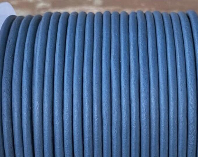 3mm Round Leather Cord - Denim Blue - Genuine Indian Leather Cord LCR3 - Denim Blue #203