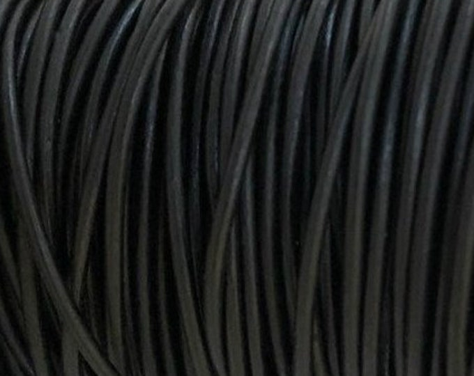 1.5mm Natural Black Round Leather Cord Choose 1 yard to 25 Yards Premium European Leather LCR1.5 - 1.5mm Natural Black #70P