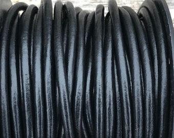 4mm Black Round Leather Cord Premium Quality 4mm Round Leather Cord  LCR4 -  #1 Black