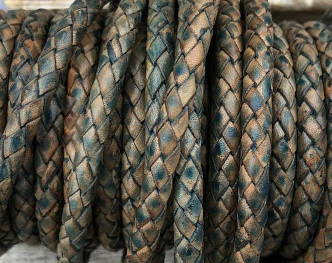 5mm Bolo Braided Leather Cord, Antique Blue Premium Indian Leather Cord, By The Yard, LCBR5 - #9 Antique Blue