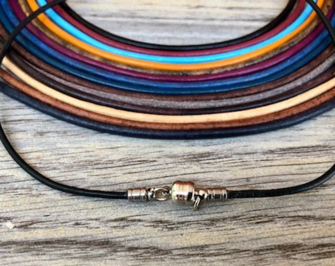 2mm Leather Necklace Cord - 36 Colors To Choose From - 2mm Leather Necklace With Strong Magnetic Clasp - Free Shipping -