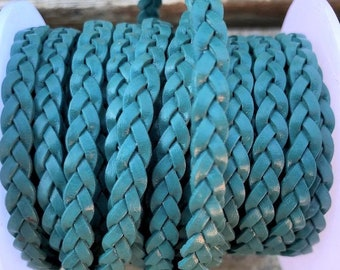 5mm Teal Flat Braided Leather Cord -By the Yard. - Genuine Indian Leather - LCF5 - 14
