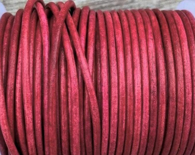 1.5mm Round Leather Cord, Crimson, Premium 1.5mm Round Leather Cord, LCR1.5  - Crimson #4