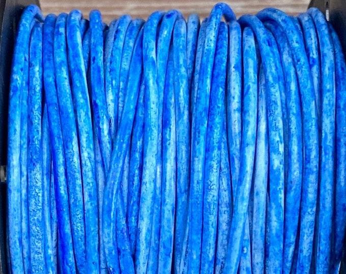 2mm Round Leather Cord, Vintage Azure,  Premium European Leather Cord By The Yard LCR12 - Vintage Azure #52P
