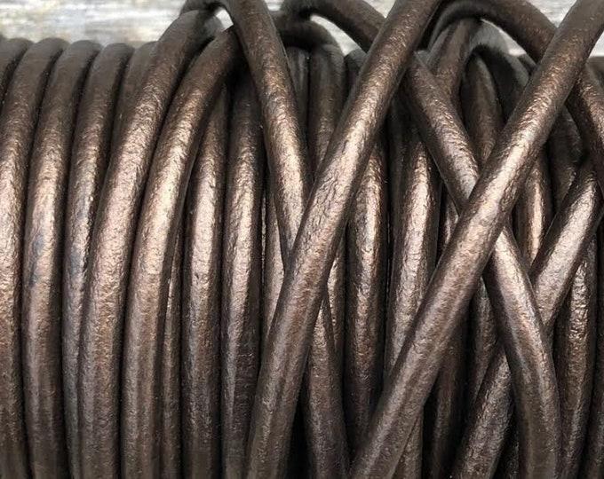 6mm Brown Metallic Round Leather Cord Premium Quality 6mm Round Leather Cord  LCR6 - Metallic Brown