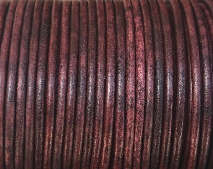 1.5mm Round Leather Cord - Antique Burgundy - Premium 1.5mm Round Leather Cord - LCR1.5 Antique Burgundy #18