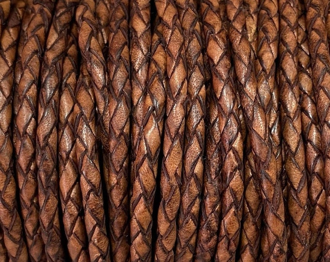 3mm Braided Leather - Red Brown - Bolo Braided Leather Cord, 3mm Red Brown By The Yard - LCBR - 3 Red Brown #24