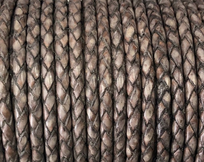 3mm Braided Bolo Leather Cord, Distressed Gray, Genuine Indian Leather Cord By The Yard - LCBR-3  Distressed Gray #9