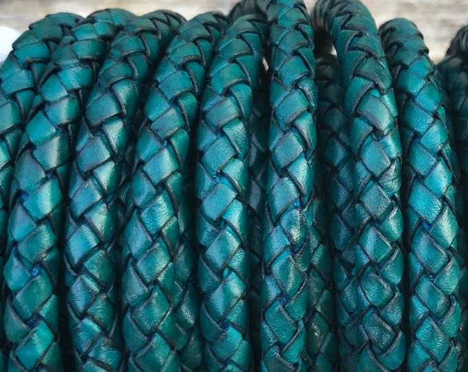 6mm Braided Leather Cord - Antique Teal - Genuine Indian Leather Cord, By The Yard - LCBR6 - 6mm Antique Teal #22