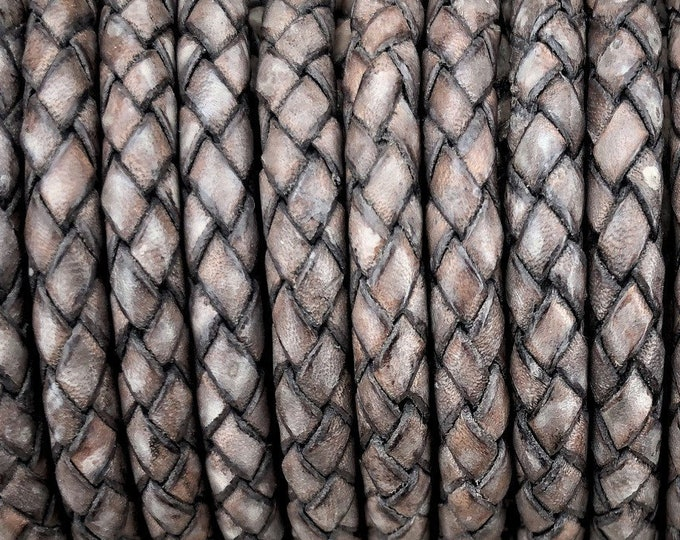 6mm Bolo Braided Leather Cord, Antique Gray Premium Indian Leather Cord, By The Yard, LCBR6 - #12 Antique Gray