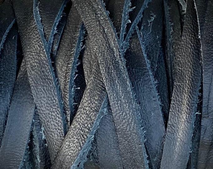 5mm Black Deertan Lace Flat Leather Cord, 1mm Thick, Black Water Resistant Italian Calf Hide