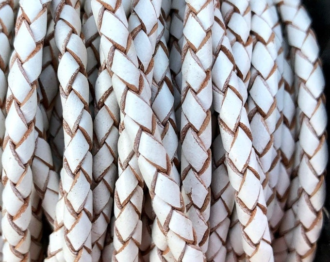 4mm White Bolo Braided Leather Cord Premium Quality Smooth and Flexible All Leather No Filler By The Yard  LCBR - 4  Premium White #P
