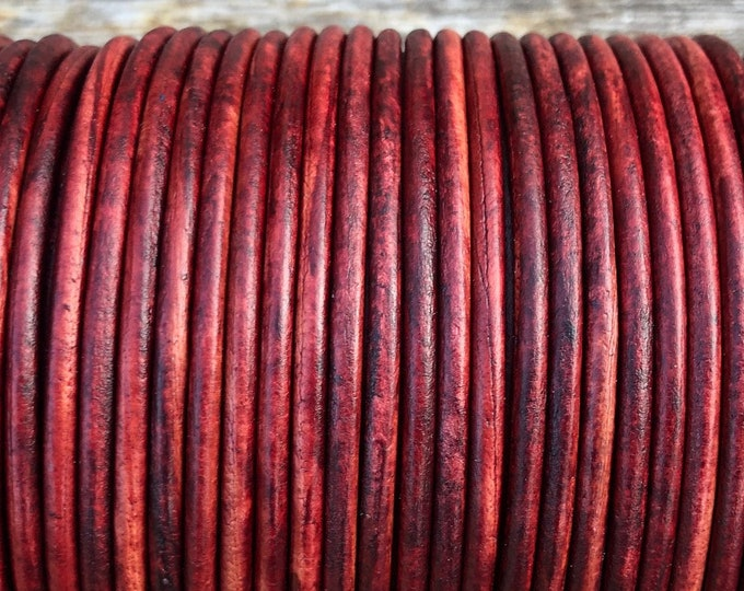 1mm 1.5mm 2mm Antique Red Leather Round Cord Distressed Red Finish