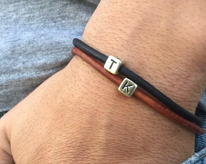 Initial Bracelet, Letter Bracelet, Initials Bracelet, Personalized Bracelet, Couples Bracelet, Leather Bracelet,