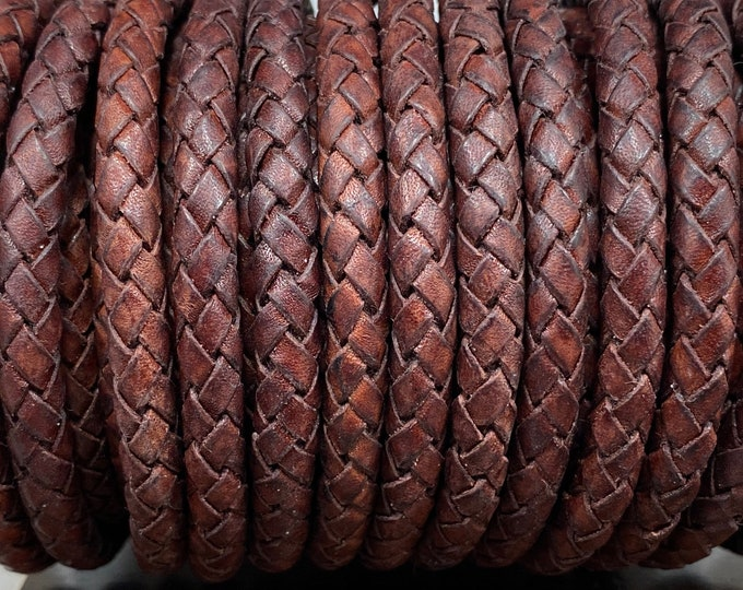 Genuine Leather LCBR6 Light Brown 6mm Braided Leather Cord 6mm Leather Cord By the Yard Light Brown #B 6mm Bolo Leather Cord