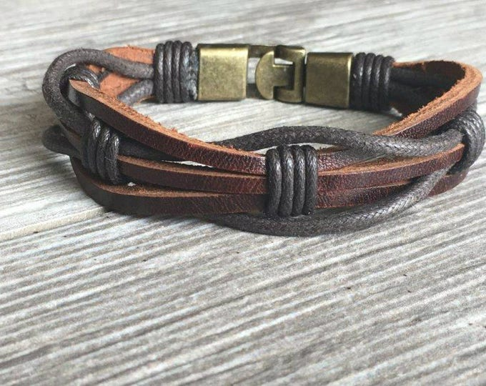 Womens Leather Bracelet, Secure Metal Clasp, Womens Bracelet, Womens Jewelry, Leather Bracelet, Valentine's Day Gifts CS2
