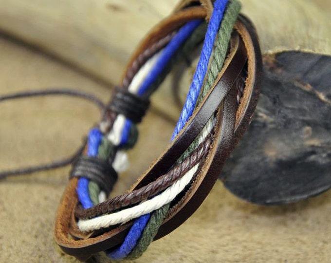 Women's Leather Bracelet, Adjustable Braided Braclet, 4 Coloprs of Hemp JLA-3