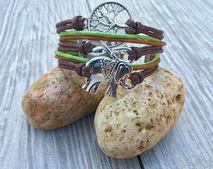 Charm Bracelet, Elephant Bracelet, Infinity Charm, Wish Tree, Vegan Bracelet with Tree of Life CH-54