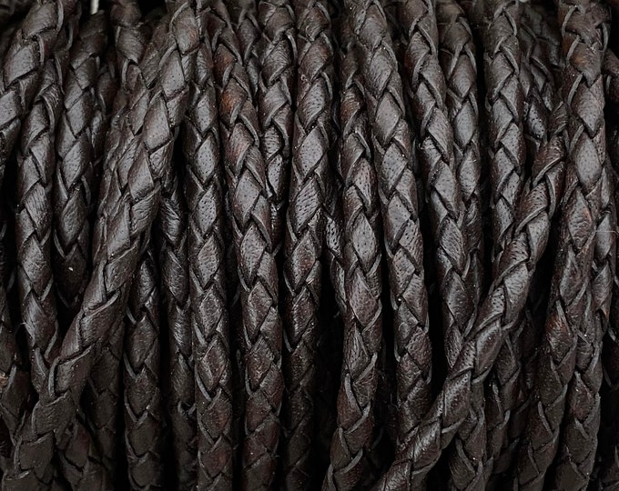 3mm Dark Brown, 3mm Bolo Braided Leather, Smooth and Flexible, By The Yard Made In India LCBR-3  3mm Dark Brown #5