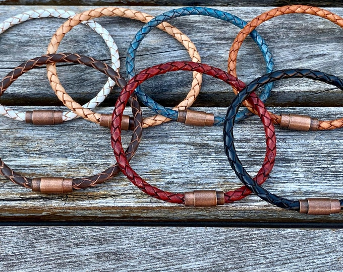 Thin Braided Men's Leather Bracelet With Brass Magnetic Clasp Available In Seven Colors CS-45