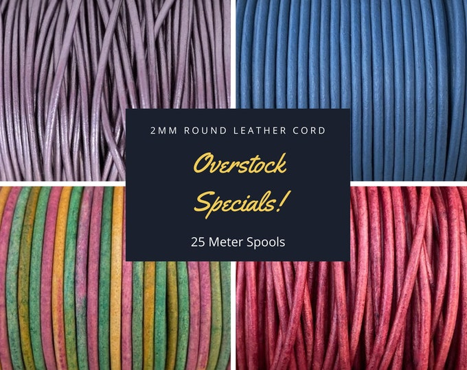 2mm Round Leather Cord, Overstock Special, 25 Meter Spools, Special Sale Price