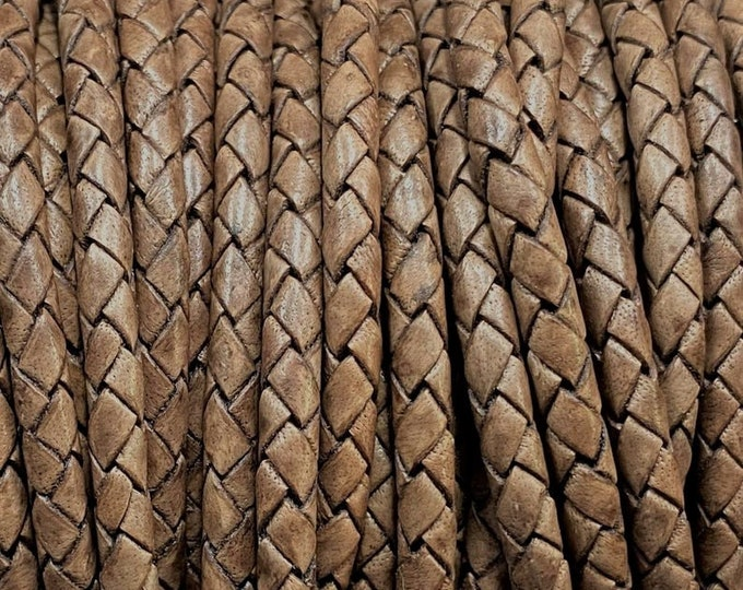3mm Premium Bolo Braided Leather - Coyote Brown - Bolo Braided Leather Cord  By The Yard - LCBR 3  Coyote Brown #14