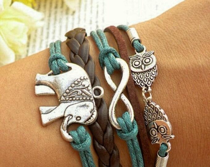 Bracelet For Women, Elephant Charm Bracelet, Infinity Charm Bracelet, Gift For Her, Gift For Women, Birthday Gift CH-159