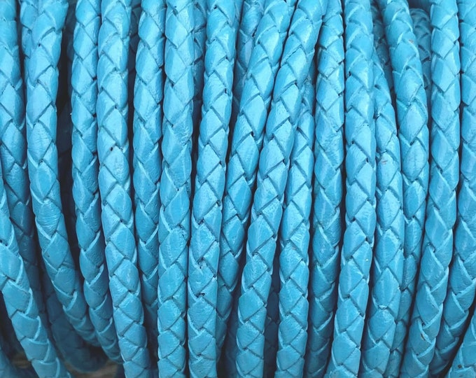 3mm Premium Bolo Braided Leather - Sky Blue - Bolo Braided Leather Cord  By The Yard - LCBR 3  Sky Blue #3