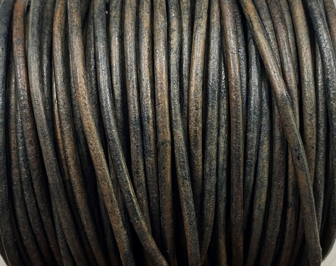 Round Leather Cord - Distressed Blue Gray - 2mm Round Leather Cord LCR2 - 2mm Blue Gray Leather - Distressed Blue Gray #102