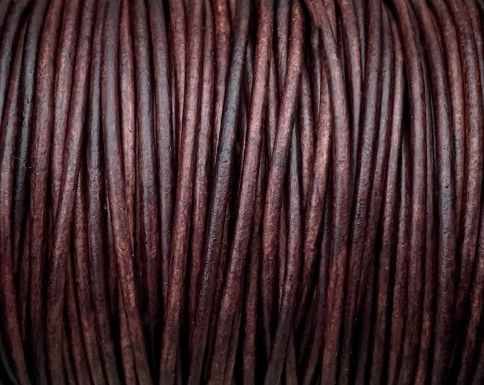 2mm Dark Antique Brown, 2mm Leather Cord, Leather Cord By The Yard Premium European Leather Cord LCR2 - Dark Antique Brown #99P