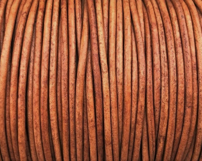 1mm Round Leather Cord - Natural Light Brown - Premium European Leather Cord - LCR1 - 200 #2 Natural Light Brown