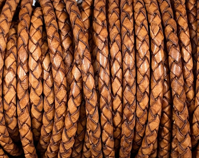 3mm Braided Leather - Distressed Chestnut - Bolo Braided Leather Cord, 3mm Red Brown By The Yard - LCBR - 3 Distressed Chestnut #17