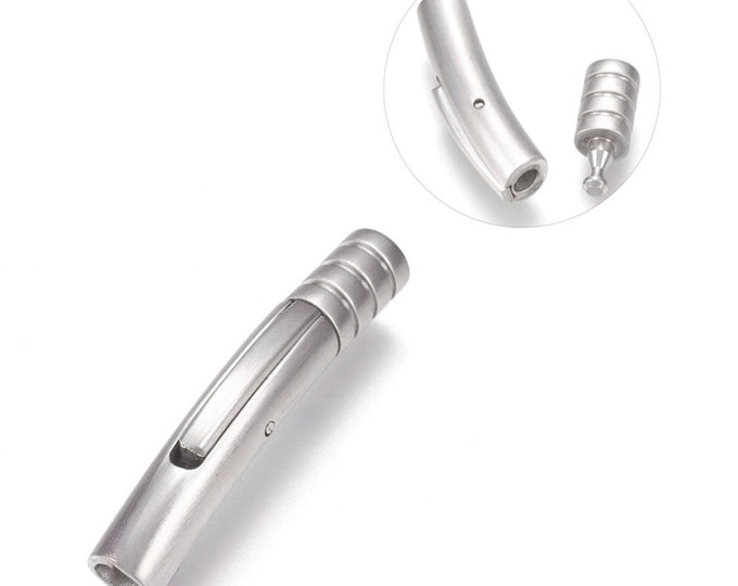 3mm Stainless Steel Locking Clasp, 3mm Bayonet Style Leather Cord Clasp Snap-In Stainless Steel Clasp, 3mm Hole Size, MC-64