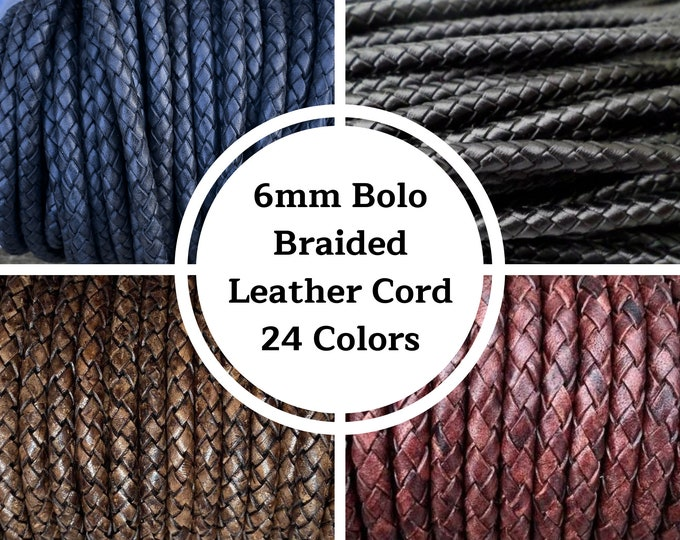 6mm Bolo Braided Leather Cord - 13 Colors - By The Yard - Distressed - Natural - 6mm Round Braided Leather Cord