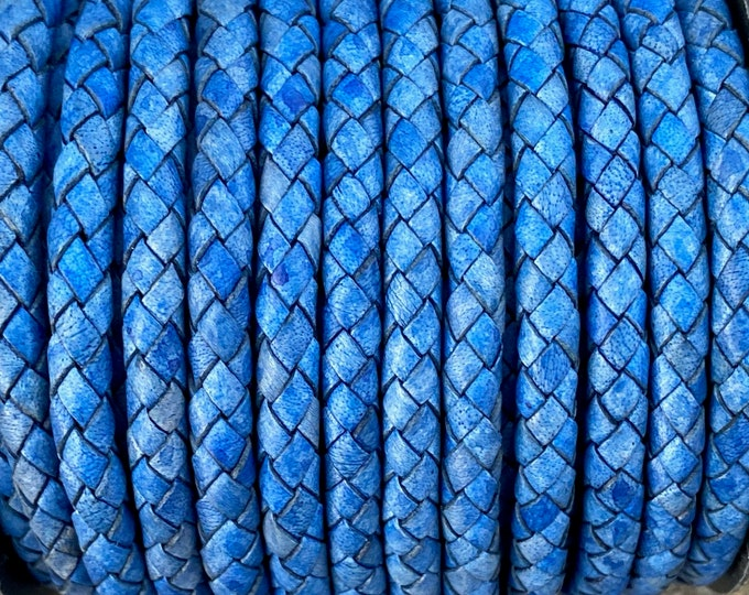 6mm Natural Blue Bolo Braided Leather Cord Premium German Quality All Leather No Filler By The Yard LCBR6 - Natural Blue #D