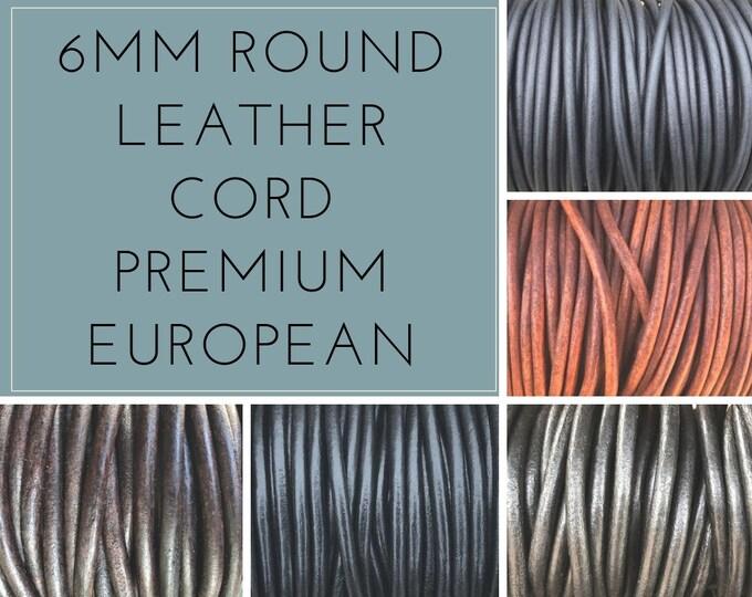 6mm Round Leather Cord Round Premium Quality 6mm Leather Cord LCR6 Premium Leather