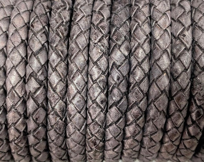 5mm Bolo Braided Leather Cord, Antique Gray Premium Indian Leather Cord, By The Yard, LCBR-5 - Antique Gray #8