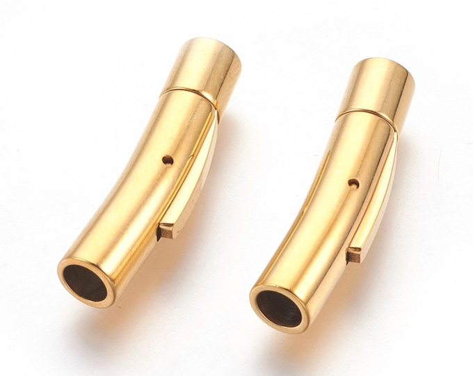 Gold Bayonet Stainless Steel Locking Clasp, Choose 3mm, 4mm, 5mm, or 6mm Gold Toned Bayonet, Very Secure Bracelet Clasp MC-99a