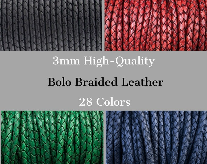 3mm Braided Leather Cord, 3mm Round Braided Leather - 28 Colors - 3mm Bolo Braided Leather Cord  By The Yard - LCBR - 3mm
