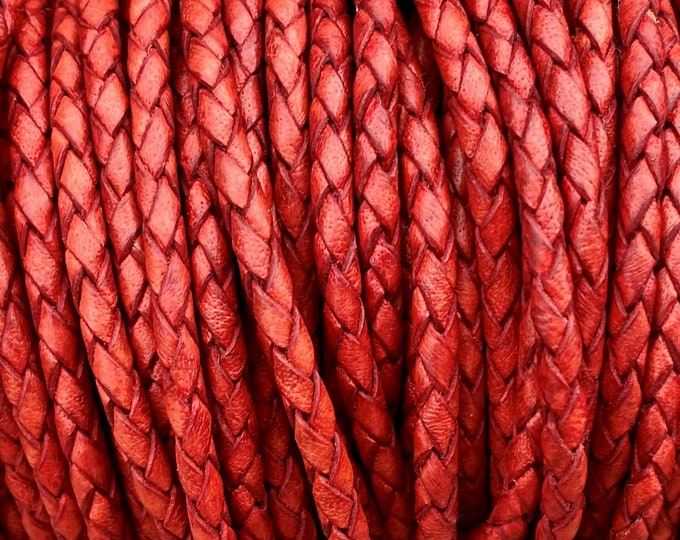 3mm Braided Leather - Red - Bolo Braided Leather Cord  By The Yard - LCBR - 3  Red #16