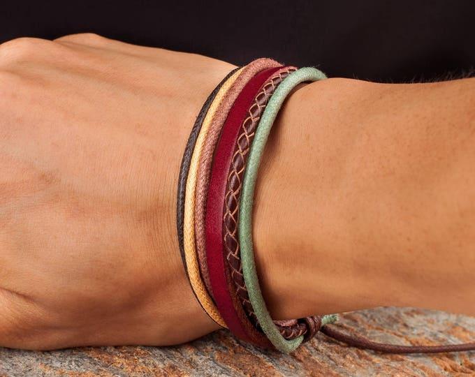 Adjustable Leather Bracelet, Leather and Hemp, Mens Leather Bracelet, Gift For Him, Gift For Dad, Boyfriend Gift JLA-100