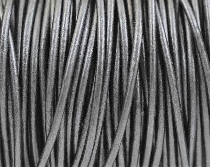 1.5mm Round Leather Cord - Metallic Gunmetal - 1.5mm Premium European Round Leather Cord LCR1.5 - 1.5mm Metallic Gunmetal #87P