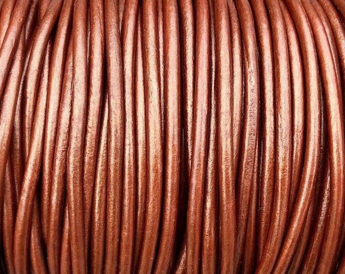 2mm Round Leather Cord, Premium Copper Metallic, By The Yard Genuine Indian Leather  - LCR2 - 2mm Copper Metallic #81