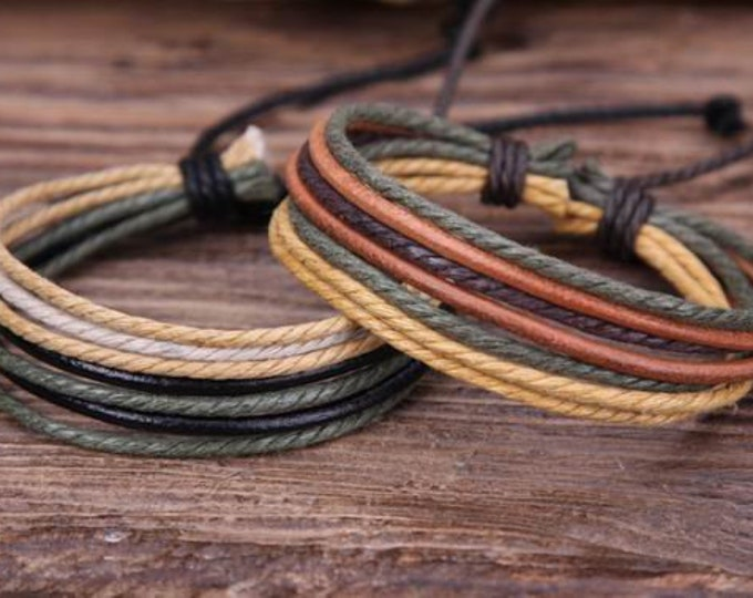 Adjustable Bracelets Made With Leather and Hemp, Mens Leather Bracelets, Womens Leather Bracelets, Gift Under 10 JLA-7