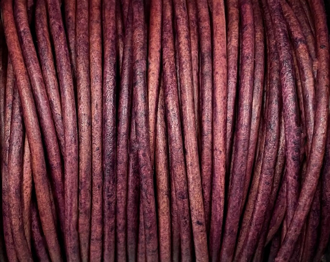 1.5mm Premium Natural Violet Round Leather Cord 1.5mm, 1 yard to 25 Yards Made In India - LCR1.5 - Natural Violet #96P
