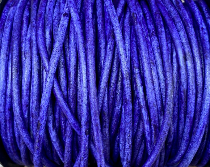 3mm Round Leather Cord, Lila Vintage, Premium 3mm Leather Cord, Blue Purple, By The Yard LCR3 - Lila Vintage #206