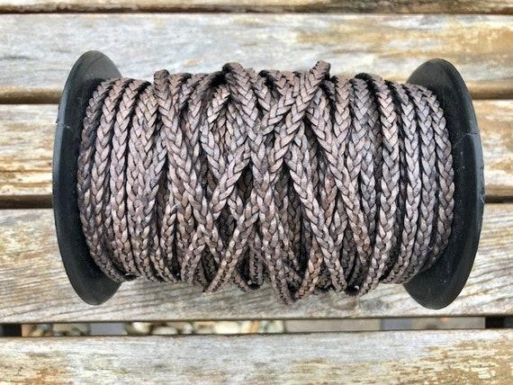 Free Shipping One Yard 5mm Flat Braided Leather Cord Cerulean LCF5-7