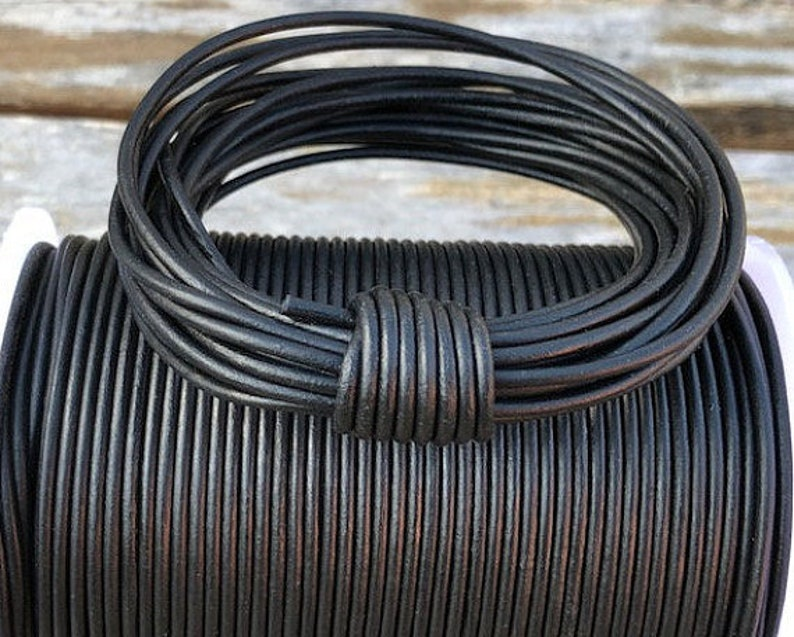 #1 Natural Black LCR1.5 1.5mm Natural Matt Black Round Leather Cord 1 Yard to 25 Yards Made In India